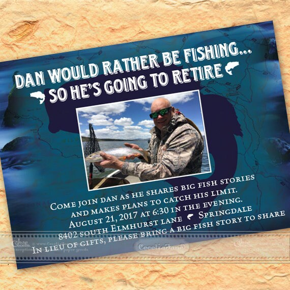 retirement party invitations, fishing retirement party, deep sea retirement party, fishing birthday party, fishing bachelor party, IN588