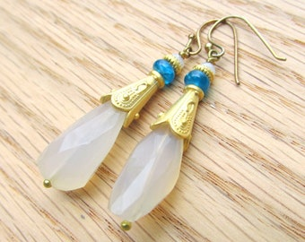 Faceted Prehnite & Apatite Earrings with Gold Accents- Natural Gemstones HANDMADE Jewelry