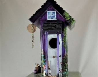 Unique Purple Birdouse , Handcrafted , Painted with lots of Color and Little Extras