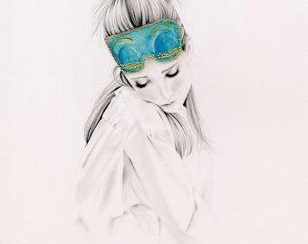 Audrey Hepburn Wall Art Art Print Original Audrey Hepburn Breakfast at Tiffany's Fashion Illustration Print Wall Art Sleep Mask Audrey H