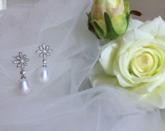 Freshwater drop pearl earrings, bridal pearl earrings, wedding earrings