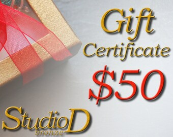 Gift certificate, , Birthday gift card, Secret Santa, Last minute gift, Gifts Under 50, Handmade jewelry, Gift for her, GC50