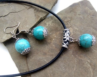 Turquoise Jewelry Set, Turquoise Necklace, Turquoise Earrings, Turquoise Jewelry, Blue Stone, Blue Jewelry, Gift For Woman