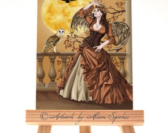 ACEO - Hunter's Moon, owl fairy, masquerade angel, fairy mask, barn owl