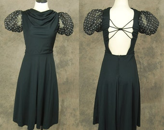 vintage 80s Backless Dress - Black Avant Garde Dress 1980s Open Back Dress Sz S