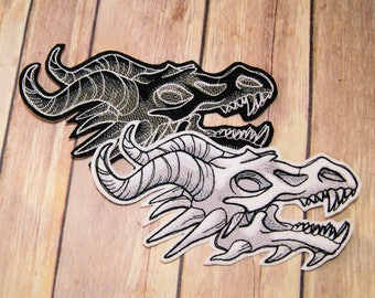Dragon Shadow Skull Black White Iron On Embroidery Patch MTCoffinz - Choose Size / Color