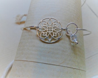 925 sterling silver Bangle Bracelet / Swarovski Crystal and Mandala / nature jewelry