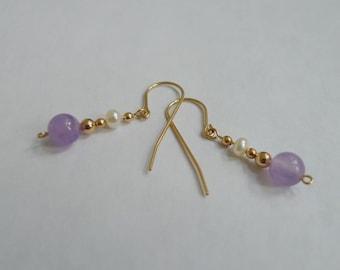 Amethyst and Freshwater Pearl Earrings