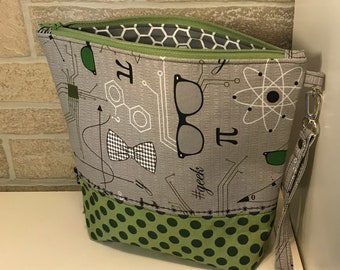 Science inspired zipper top project bag with flat bottom and knitting needle cozy - ready to ship