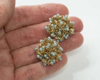 Blue Earrings, Vintage Filagree  Earrings Vintage Blue and Gold Earrings