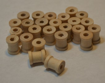 "3/8"" x 5/16"" Wood Spools - Set of 25 - Unfinished - Wooden Spool"