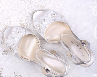 Wedding Shoes - Bridal Shoes - Flower Embellished Wedding Shoes - Crystals - Ivory Wedding Shoes - Custom Women's Wedding Shoes - High Heels