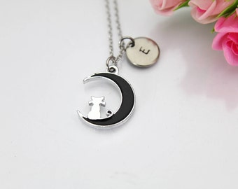 Celestial Necklace, Eclipse Necklace, Cat Sitting on the Moon Charm Necklace, Crescent Moon Cat Charm, Animal Charm, Pet Gifts