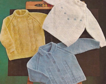 "PDF Knitting Pattern Baby Jumper and Cardigan Sizes 20-24"" (Ro321)"
