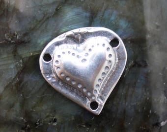 Classic Design Heart Pendant, Sterling Silver, Hand Carved, Lost Wax Cast, Artisan, P15