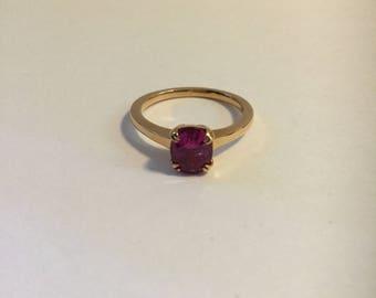 14K Rose gold pink sapphire Ring