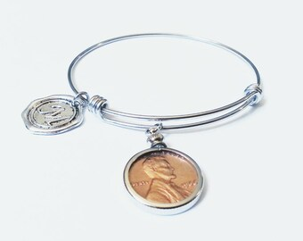 70th Birthday Gift 1948 US Penny Bezel Bracelet Expandable Bangle initial charm 50th Coin Jewelry