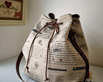 Paris Zakka Drawstring Bag - RESERVED for Anna