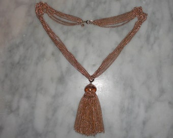 Vintage Gold Tone Six Strand Sarah Coventry Necklace with Removable Gold Tassel Pendant SHIPS FREE