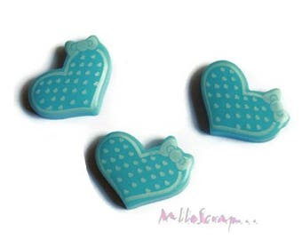 Set of 3 hearts with blue resin dots scrapbooking embellishment *.