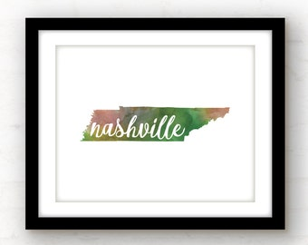 Nashville art | Nashville print | Nashville wall art | watercolor art print | watercolor state art | Nashville, TN home decor