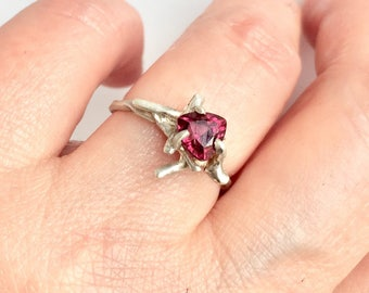Twig ring, garnet, sterling silver ring, garnet ring