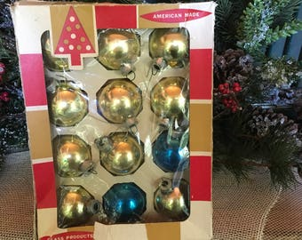 "Christmas Ornaments, Christmas Decor, 1 3/4"", Gold, Blue, Christmas, Vintage 1960s, Vintage Ornaments, 12 ea, Tree Decor, Coby Brand, Xmas"