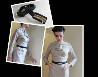 Vintage 1970s Black Fishscale Belt Rhinestone Buckle / 1970s Elastic Stretch Disco Belt Glam / Small