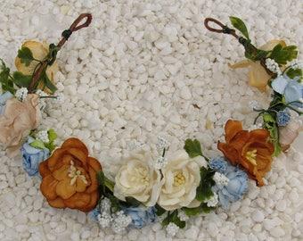 Fairy Flower Crown - Autumn Flower Crown, Fall Floral Crown, Flower Crown Wedding, Woodland Crown, Boho Flower Crown, Flower Boho Crowns