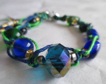 Deep Blue Pixie Dust, Women's Braided and Beaded Bracelet