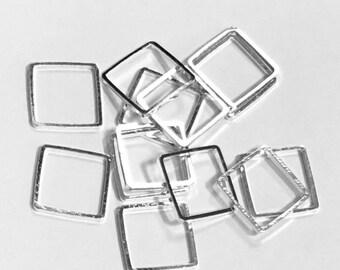 50 pcs de maillons carrés en laiton plaqué argent 12mm