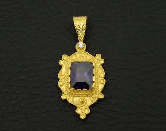 Amethyst Cz Pendant Byzantine Style 925 Sterling Silver 22K Gold Plated Greek Handmade Art Unique Luxury