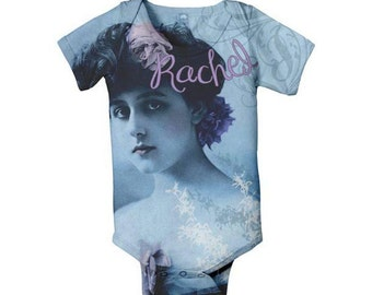 Baby Girl Bodysuit, Personalized Lady in Blue Infant Baby One-Piece Clothing