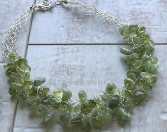 Quartz Necklace, Green Quartz Necklace, Chunky Necklace, Statement Necklace, Wire Crochet Necklace