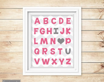 I Love Heart You Alphabet Pink Grey Learning Tool Wall Art Nursery Girl's Room Decor ABC's Printable 11x14 Digital JPG Instant Download 54-3