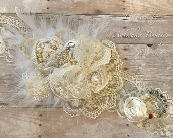 Cream Large Over the Top Headband Pearl Bracelet Set, Custom Name Birthstone Christening Baptism Fabric Flowers Feathers Strands Ivory Lace