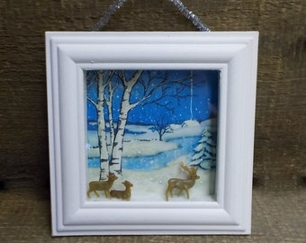 Deer Walking in Snow Beside Stream 3-D  Winter Scene Shadowbox Diorama  Assemblage Deer in Sparkling Snow
