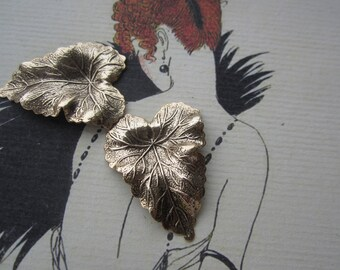 Vintage Antique Gold plated Elephant Ear Leaf Stampings  2Pcs.