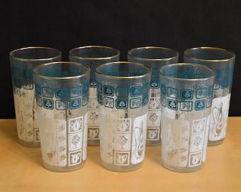 Set of 7 Vintage Anchor Hocking 11 oz Drinking Glasses, Aqua and White, Gold Rim, New in Box, 11 oz, Mid-Century Glassware