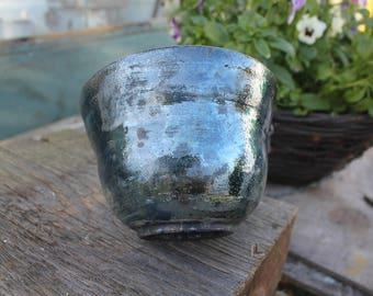 Small Blue Lustre Raku Bowl