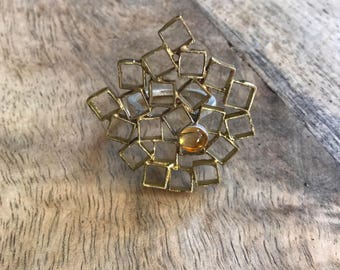 Brass and Sterling Ring with a Citrine - Size 7 3/4