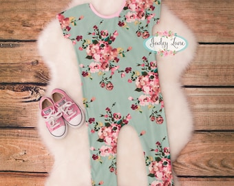 Girls romper / Romper / Girls floral Romper / Spring Romper / baby romper / baby girl Romper / Mint Romper / Girls outfit / Spring outfit