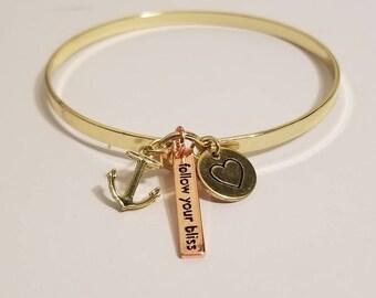 Anchor Bangle Bracelet   Follow Your Bliss   Gold Bangle Bracelet   Inspiring Jewelry
