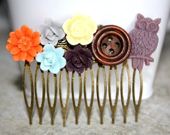 Flower Hair Comb, Bridal Accessories, Hair Accessories, Bridesmaid Gift, Collage Hair Comb, Woodland Hair CombWedding Accessory