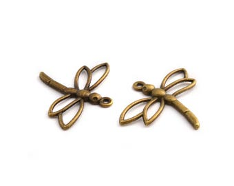 2 bronze Dragonfly charms