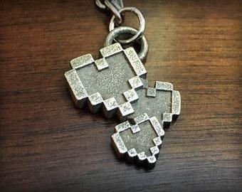 Legend of Zelda Digital Hearts Stainless Steel 3D Printed Jewelry Pendant
