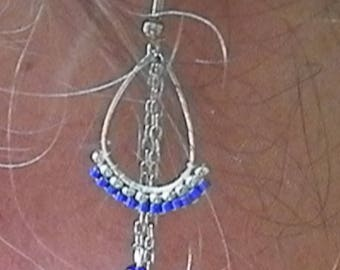 Navy and silver beadwoven earrings