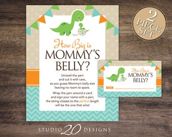 Instant Download Teal Orange Dinosaur How Big is Mommy's Belly Baby Shower Game, Baby Bump Game, Teal Orange Dinosaur Guess Tummy Size #59A