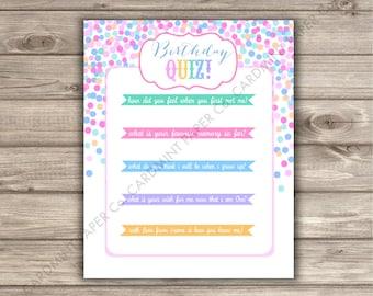 Birthday Quiz Game First Birthday girl rainbow unicorn confetti sprinkle cupcake Guest Questionnaire Activity Time Capsule Keepsake QZ323