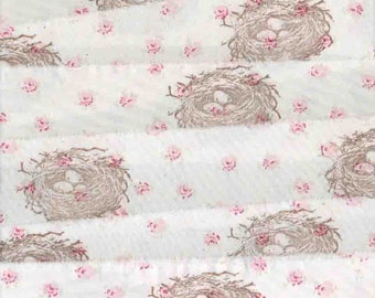 birds nest pink roses birds nest muslin Rachel Ashwell shabby chic fabric hand made,  rubber stamped  ribbon ,wedding ... 201 . ....oohlala